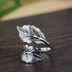 Vintage Double Leaves Silver Open Leaf Women's Rings