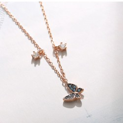 Cute Lover Gift Student Present Women Necklace Blue Butterfly Pendant Silver Rose Gold Necklace