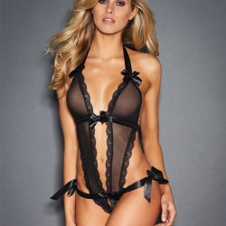 Sexy Black Sling Bow Conjoined Lace Bandage Perspective Women Intimate Lingerie
