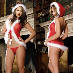 Sexy Plush One Piece Hat Red Christmas Women Lingerie
