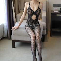 Sexy Bow Flower Intimate Net Stocking Lace Teddy Bodysuit Underwear Women Lingerie Bodystocking