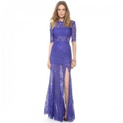 Floral Lace Tassels Deep V Back High Slit See-Through Party Dress