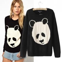 Lovely Cartoon Panda Print Sweater