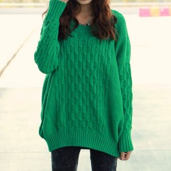 Simple Pure Loose Knitted Sweater