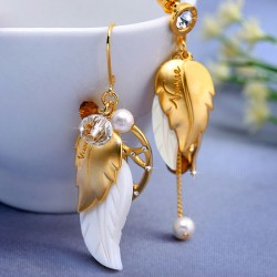 Bohemian Asymmetrical Shell Gilded Feather Pearl Crystal Bead Tassel Earrings