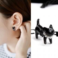 Cute Kitten Pearl Earring Studs