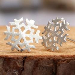 Cute Brushed Snowflake Earrings Studs