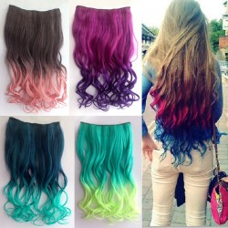 Night Club Long Wavy Colorful Clip Hair Weft