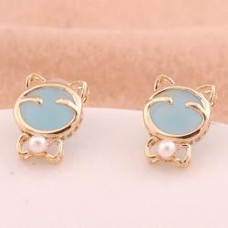 Lucky Cat Eye Opal Earrings&Stud