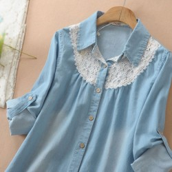 Sweet Fresh Loose Lace Denim Shirt
