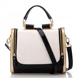 Elegant Retro Contrast Color Rose Pattern Handbag