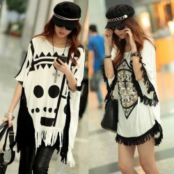 Special Design On Printing Loose Tassels Skull Bat Sleeve T-shirt