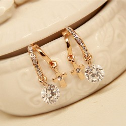Crystal Zircon Flower Cross Plated Gold Ear Studs