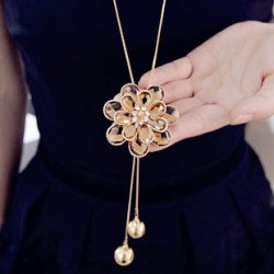 Flower Tassel Rhinestone Long Sweater Chain Necklace