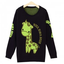 Silk Thread Giraffe Letter Pattern Long Sleeve Sweater