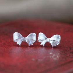 Cute Scrub Bow Silver Earring Stud