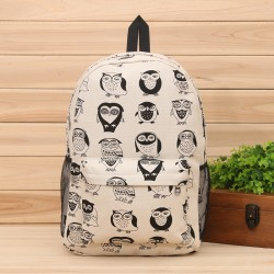 Cute Cartoon Multi-Expression Owl Canvas Backpack