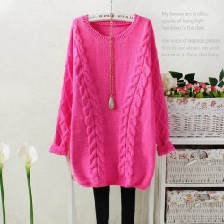 Sweet Retro Diamond Lattice Sleeve Cable-knit Sweater