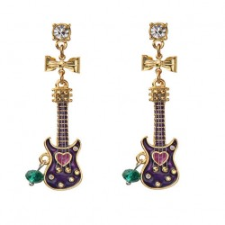 Classic Bow Rhinestone Asymmetric Guitar Music Earring Drop