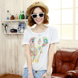 Casual Colorful Elephant Totem Crimping Sleeves Loose Short-sleeved T-shirt