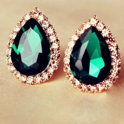 Blue/Green Big Water Drop Gem Ear Studs