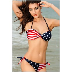 New Nice American Flag Halter Bikini Swimsuit