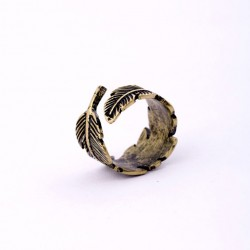 Retro Bronze Feather Ring