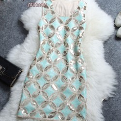 Retro Beaded Copper Cash Pattern Sleeveless Dress