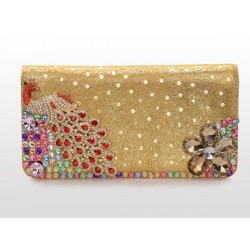 Unique Rhinestone Sequin Peacock Leather Clutch Bag& Wallet