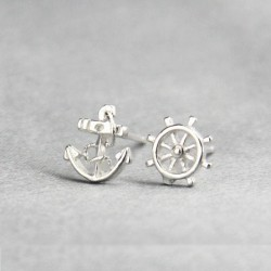 Navy Anchor Rudder Silver Earring Stud