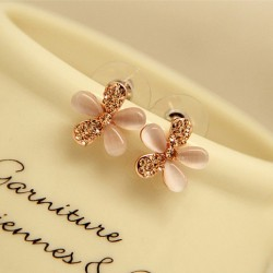 Elegant Opal Silver Stud Five Petals Flower Earrings