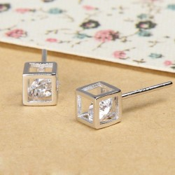 Romantic Cute Diamond Square Silver Earrings Studs