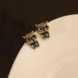 Cute Rhinestone Owl Earring Studs