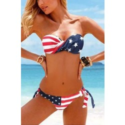 New Sexy American Flag Stripes Summer Bikinis Swimwear