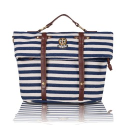Navy Stripe Multifunction School Travel Backpack  Handbag Shoulder Bag Messenger Bag