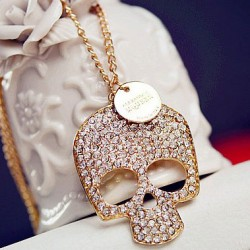 Punk Skull Rhinestone Sweater Necklace