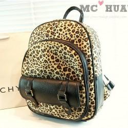 Vintage Street Style Leopard Print  Backpack