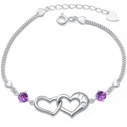 Pretty Heart-Shaped 925 Pure Silver Diamond Bracelets