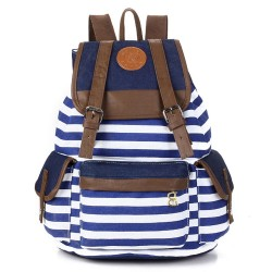 Retro Navy Stripe Print Fresh Backpack