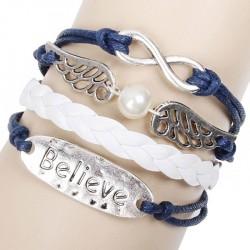 Lovely Angel Wing Believe Infinity Bracelet