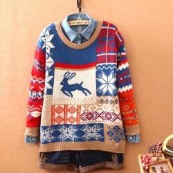 Christmas Style Deer Snowflakes Sweater Cardigan