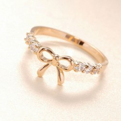Lovely Cute Rhinestone Bow Ring