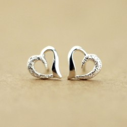 Romantic Heart-Shaped 925 Sterling Silver Earrings