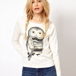 Fashion Rhinestone Owl Printed Sleeve Sweater