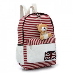 Cute UK Flag Striped Bear Doll Canvas Backpack