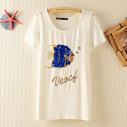 Loose Printed Short-sleeved Fish Sequins T-shirt