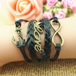 Cute Love Anchor Weave Infinity Bracelet