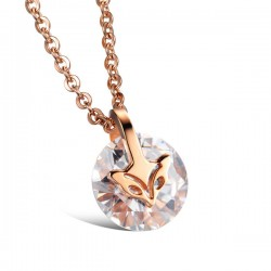 Rose Gold Plated Fox Zircon Pendant Necklace/Stud Earrings