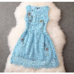 New Elegant Lace Crochet Handmade Beading Party Dress &Dress