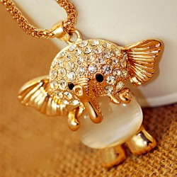 Cute Hollow Elephant Sweater Necklace